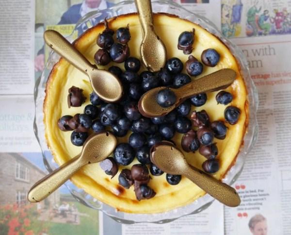 White Chocolate & Gin Blueberry Cheesecake