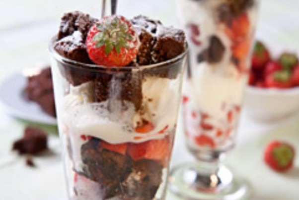 Chocolate Brownie and Strawberry Sundae