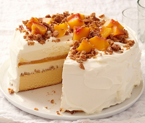 Peach Cobbler Ice Cream Cake