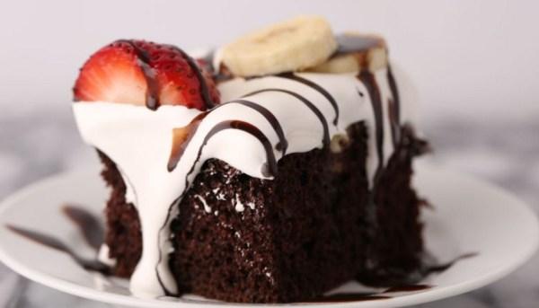 Hot Fudge Sundae Poke Cake