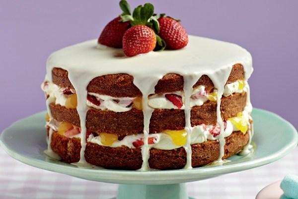 Lemon and Strawberry Sponge Cake
