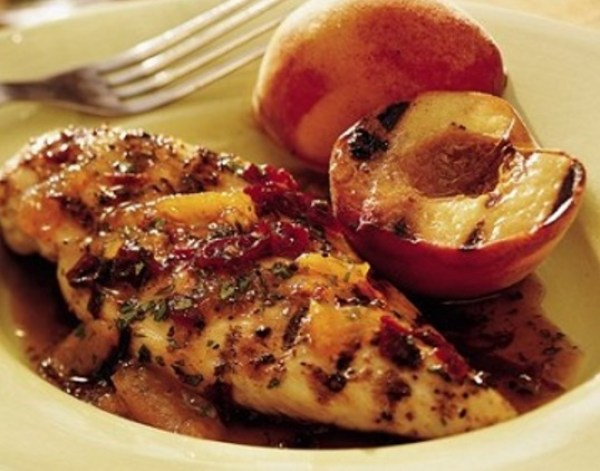 Grilled Balsamic Chicken and Peaches