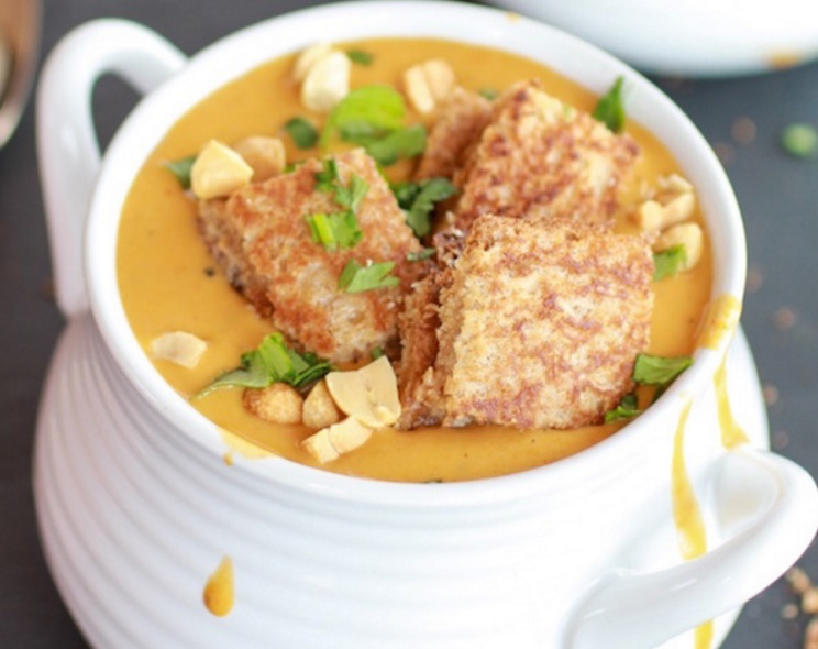 Thai Peanut Soup With Grilled Peanut Butter Croutons