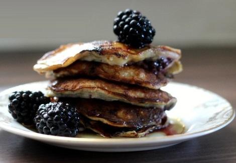 Banana and Blackberry Pancakes