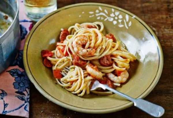 Prawn and Chorizo Linguine With Lime