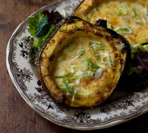 Roasted Corn Pudding in an Acorn Squash