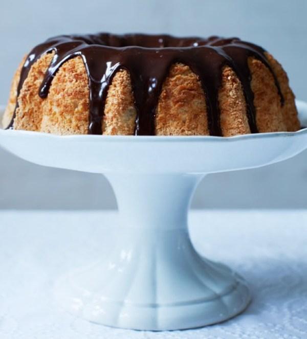 Angel Food Cake With Dark Chocolate Ganache