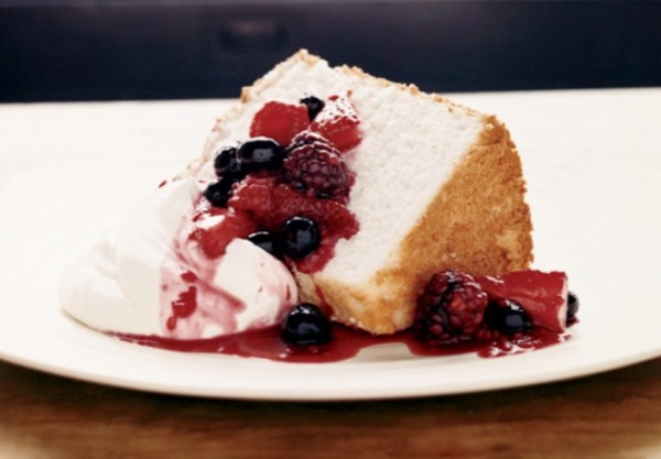 Angel Food Cake with Three-Berry Compote
