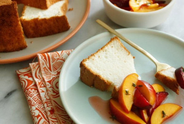 Angel Food Cake With Nectarines and Plums