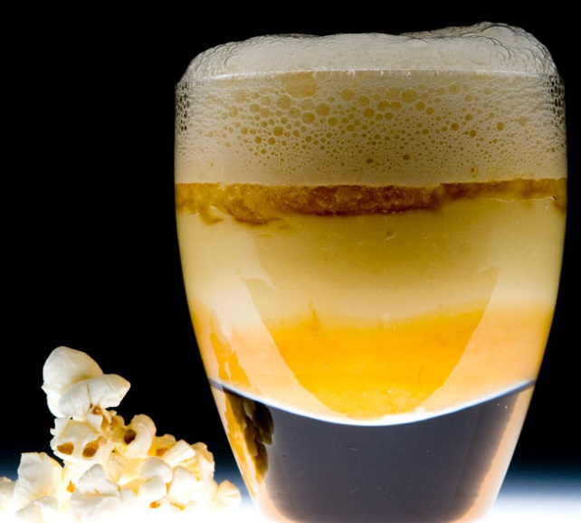 Liquid Popcorn with Caramel Froth