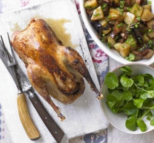 Roast Pheasant With Wild Mushroom, Potato & Bacon Ragout