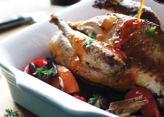 Roast Pheasant and Veg With Moroccan-Spiced Butter
