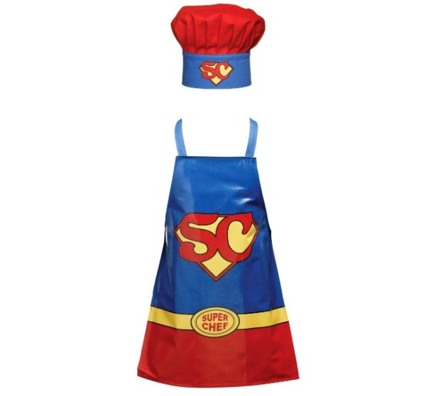 """Super Chef"" Novelty Apron and Chef's Hat Set"