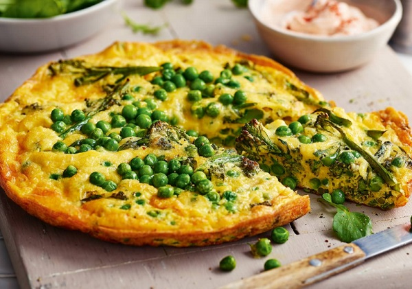 Broccoli, Pea and Cheddar Frittata