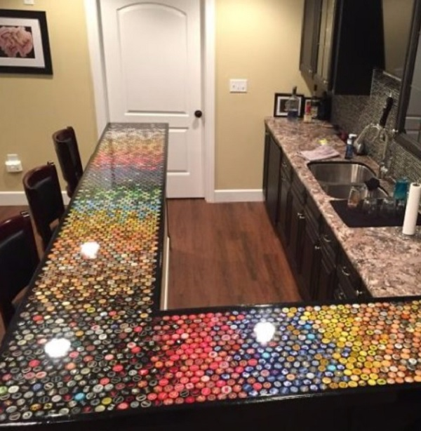Kitchen Worktops Made With Bottle Caps