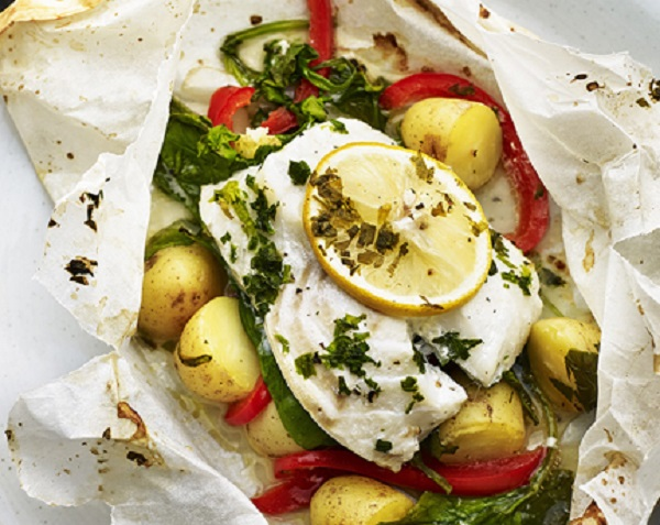 Baked New Potatoes and Cod en Papillote