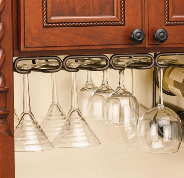 Under Kitchen Cabinet Hanging Glass Racks