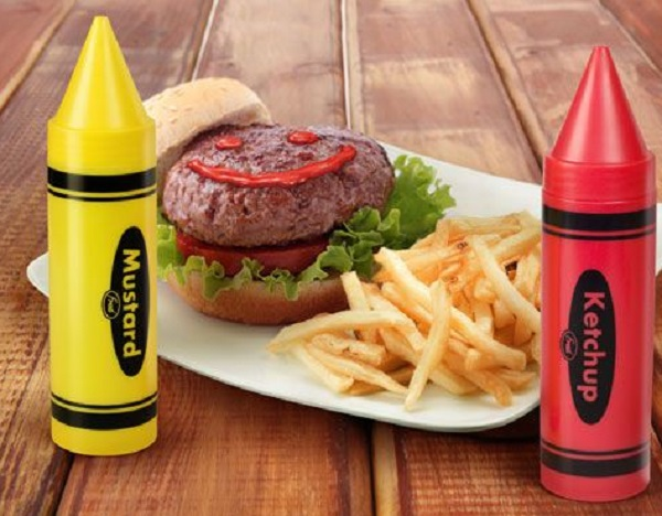 Ketchup and Mustard Crayon Bottles