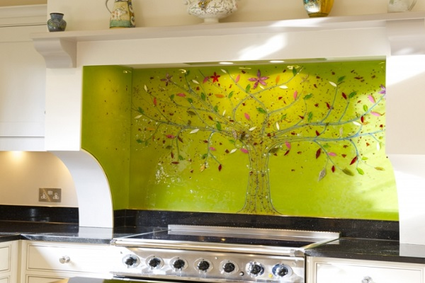 Bespoke Fused Glass Art Kitchen Splashback Design