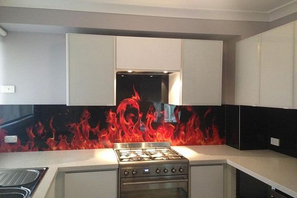 Flames Image Kitchen Splashback Design