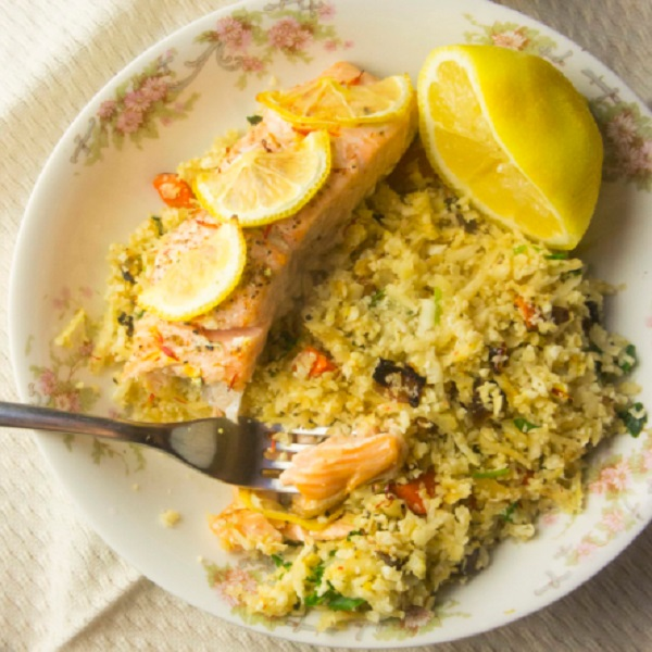 AIP Friendly Baked Salmon over Grain-Free Apricot Pilaf