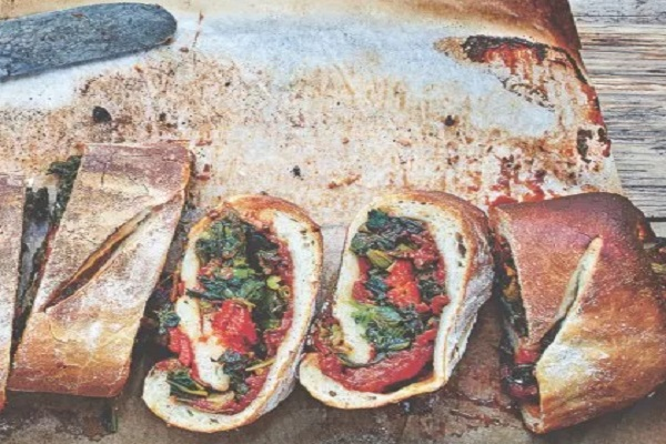 Pepper And Spinach Stromboli