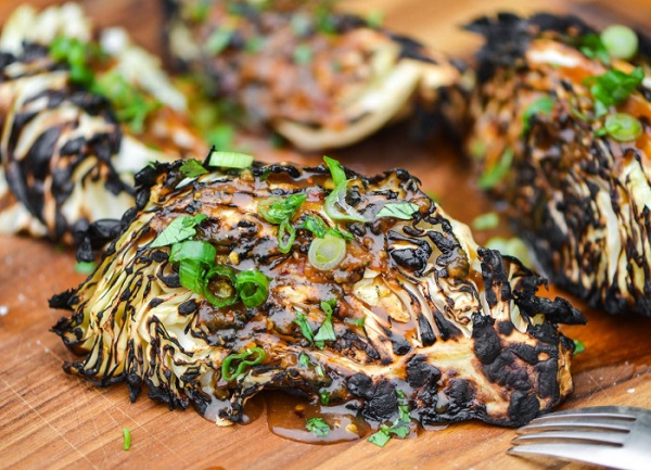Grilled Cabbage Wedges With Ginger-Miso Dressing