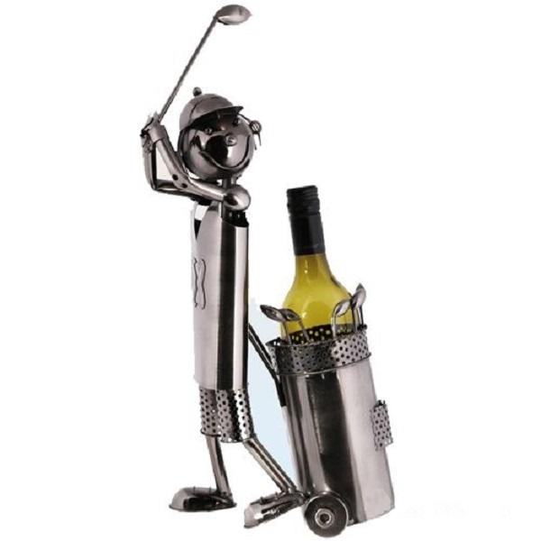 Golfer Ornament Metal Wine Bottle Holder