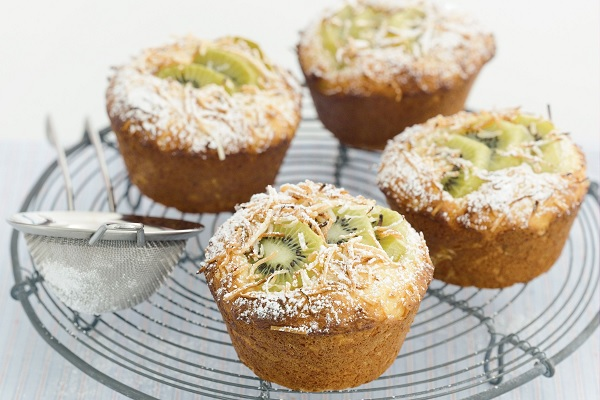 Kiwifruit, Lime and Coconut Muffins