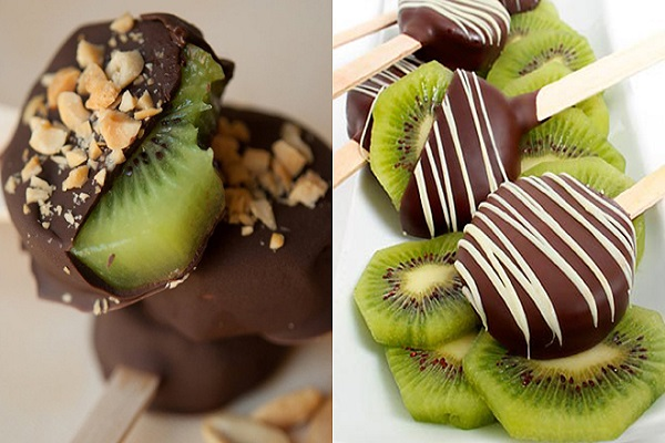 Chocolate Dipped Kiwi Pops