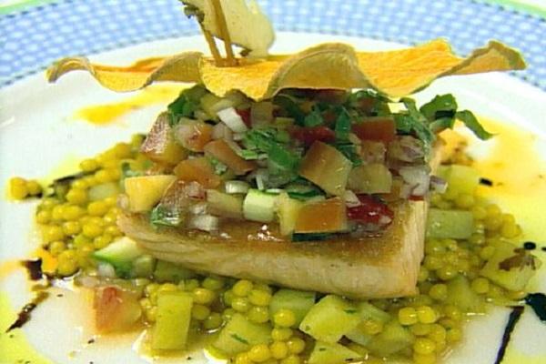 Sauteed Salmon with Papaya Rougaille