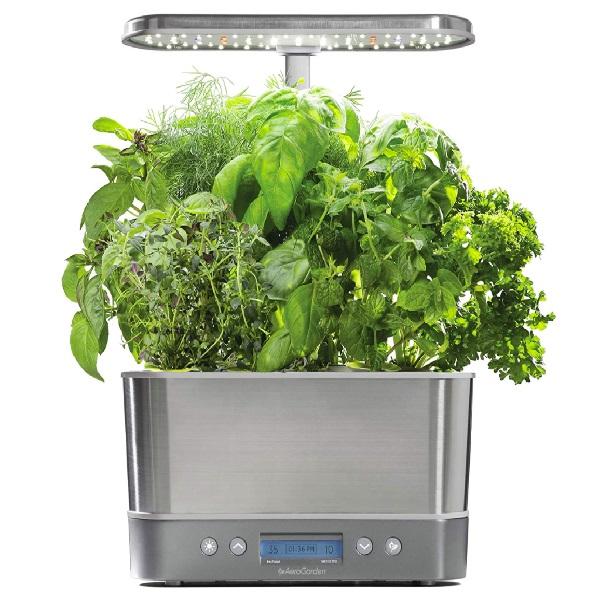 AeroGarden, Harvest Elite - Stainless Steel Indoor Herb Garden