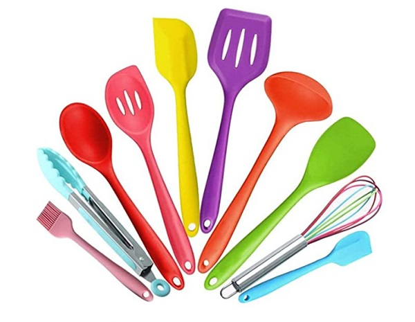 A Silicone Utensil Set For Kids