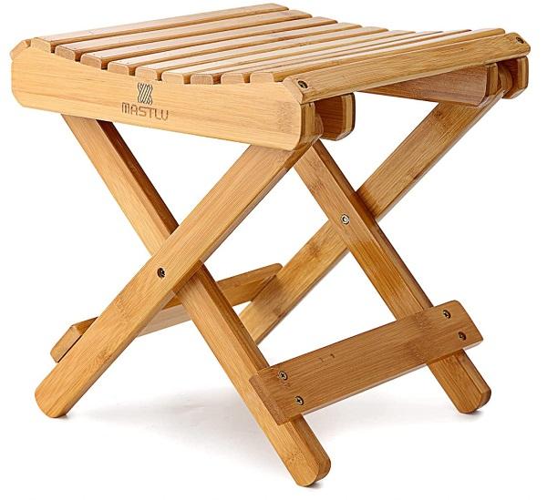 MASTLU Folding Bamboo Stool Folding Step Stool