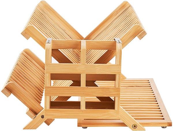 WORTHYEAH Bamboo Dish Drying Rack