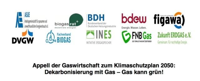 Gaswirtschaft fordert passenden Klimaschutzplan 2050 aus.