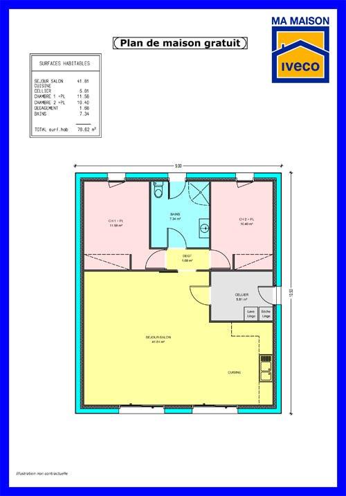 Plan Maison 60m2 Plain Pied Plan Maison De Plain Pied
