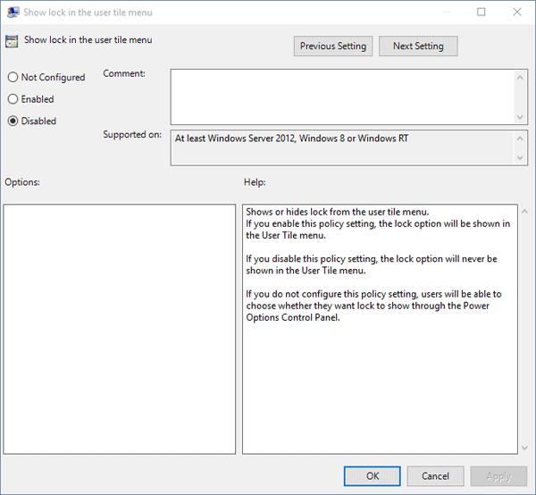 remove lock option from user tile menu