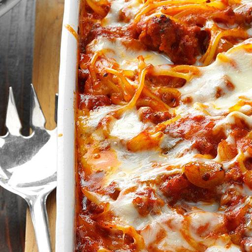 Baked Spaghetti & Meat Sauce