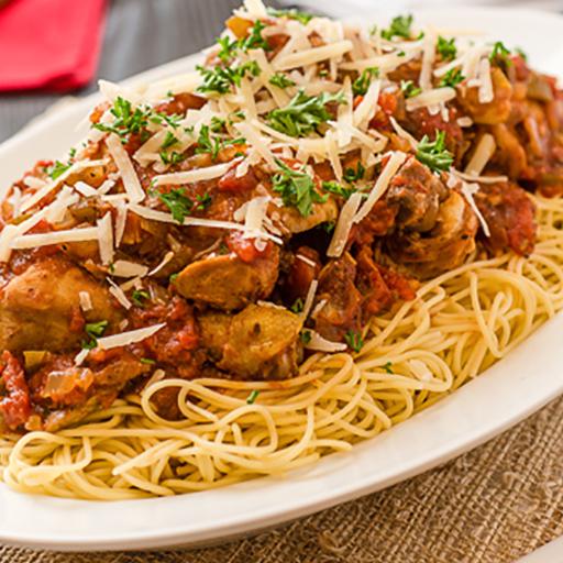 Baked Chicken Cacciatore Spaghetti