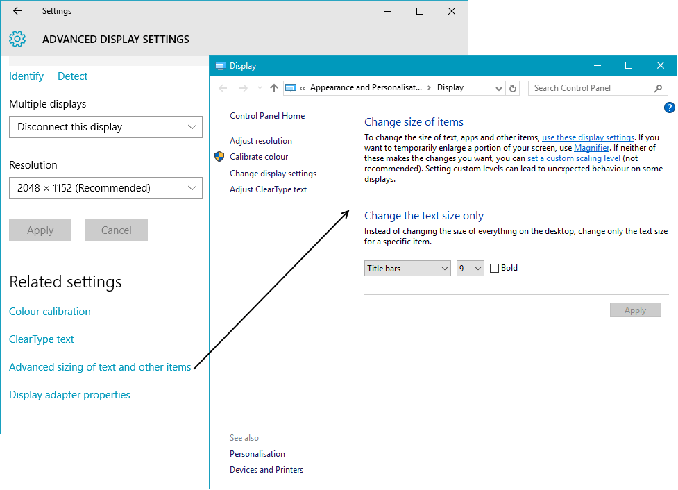 Changing font and screen element sizes in windows 10 top for Change windows