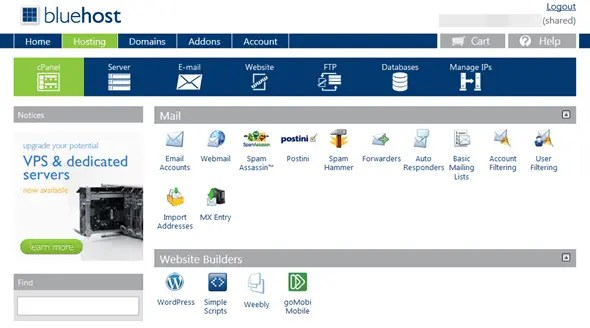 bluehost-interface-cpanel