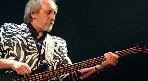 Bassist John Entwistle of The Who plays 13 May 199