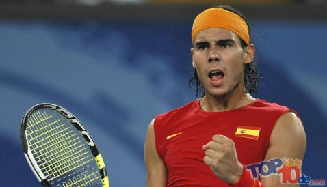 Rafael Nadal of Spain celebrates after w