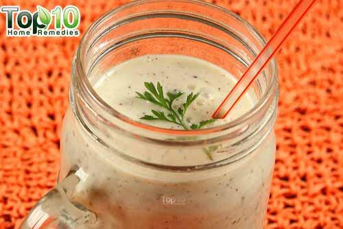 Tasty morning smoothie jar