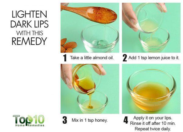 use almond oil to lighten dark lips