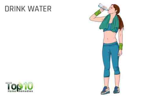 Drink plenty of water before exercising