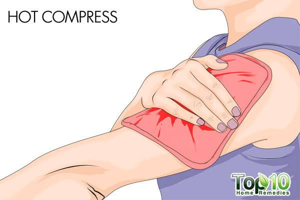 hot compress to get rid of arm pain