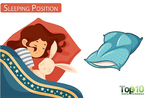 change sleeping position to reduce ear pain in children