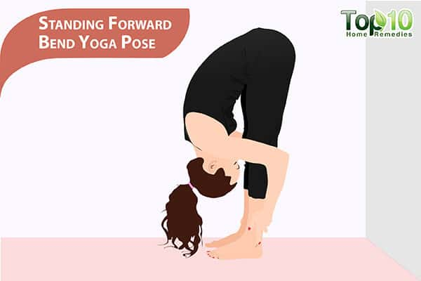 standing forward bend yoga pose for pot belly